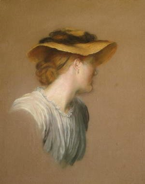George Frederick Watts - Mrs G. F. Watts in a straw hat, 1887