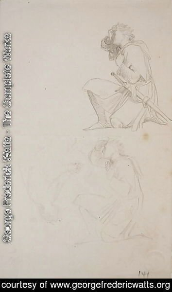 George Frederick Watts - Studies of a kneeling knight