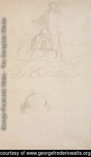 Studies of Death and the Resurrection, and a Head of a Man, c.1860