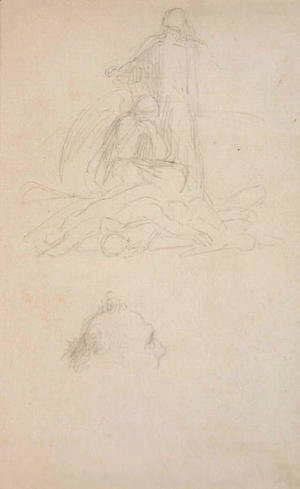 George Frederick Watts - Studies of Death and the Resurrection, and a Head of a Man, c.1860
