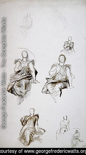 Studies of a seated figure with a book