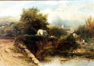 George Frederick Watts - A covered waggon crossing a bridge with a village beyond