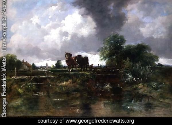 Wooded river landscape with horses working a lock