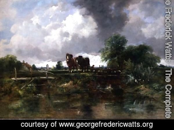 George Frederick Watts - Wooded river landscape with horses working a lock