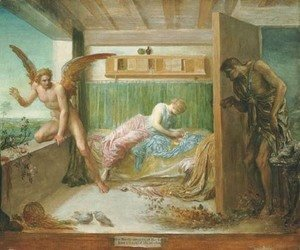 George Frederick Watts - 'When Poverty comes in at the Door, Love flies out at the Window' (German proverb)