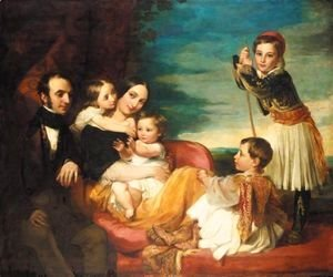 George Frederick Watts - Alexander Constantine Ionides And His Wife Euterpe, With Their Children Constantine Alexander, Aglaia, Luke And Alecco