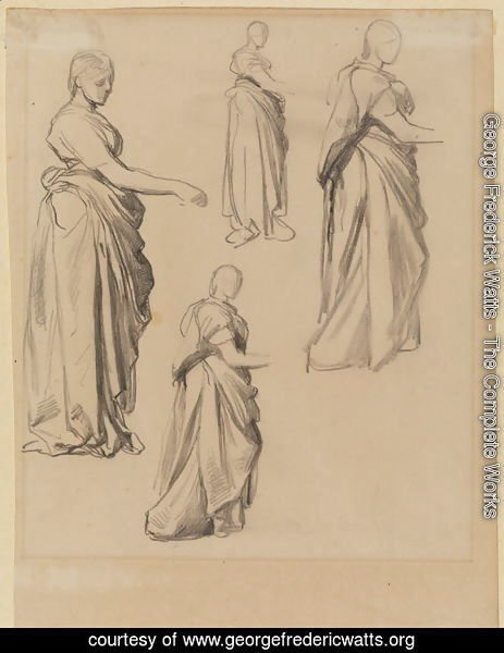 Four Studies Of A Draped Female Figure