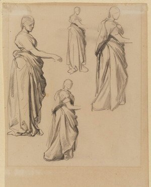 George Frederick Watts - Four Studies Of A Draped Female Figure