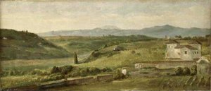 George Frederick Watts - Panoramic Landscape With A Farmhouse