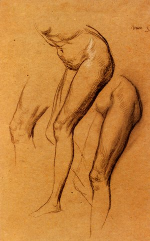George Frederick Watts - Nude Studies Of Long Mary  Two Being Studies For Eve Tempted